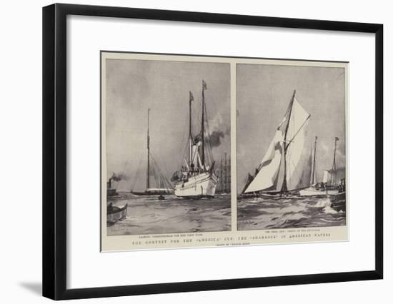 The Contest for the America Cup, the Shamrock in American Waters-Charles Edward Dixon-Framed Giclee Print