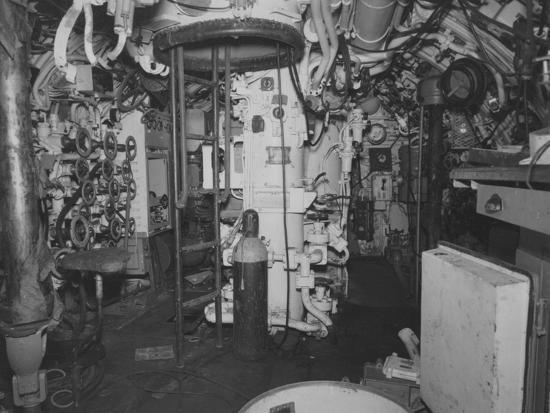 The Control Room Looking Aft on the Captured German Submarine U505--Photographic Print