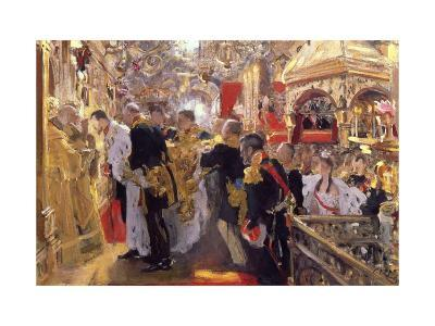The Coronation of Emperor Nicholas II in the Assumption Cathedral, 1896-Valentin Serov-Giclee Print