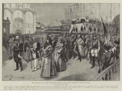 The Coronation of the Czar, the Imperial Procession Leaving the Cathedral of the Annunciation-Frederic De Haenen-Giclee Print