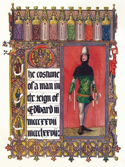 'The Costume of a man in the reign of Edward III', c1353-Unknown-Giclee Print
