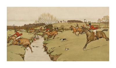 The Cottesbrook Hunt (The Brook)-Cecil Aldin-Premium Giclee Print