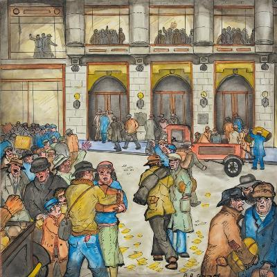 The County-City Building under Siege by Unemployed Demanding Work-Ronald Ginther-Giclee Print