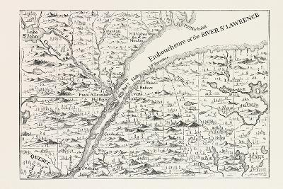 The Course of the River St. Lawrence as Far as Quebec (From Popple's Atlas, 1730) Canada, 1870S--Giclee Print