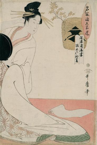 The Courtesan Hanazuma of Hyogoya from the Series 'Brands of Sake Linked with Six Selected Courtesa-Kitagawa Utamaro-Giclee Print
