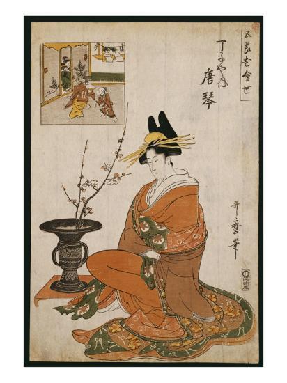 The Courtesan, Karakoto of the Chojiya, Seated by an Arrangement of Plum Flowers-Kitagawa Utamaro-Giclee Print