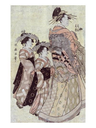 The Courtesan Somenosuke of the House of Matsuba, Japanese Wood-Cut Print-Lantern Press-Art Print