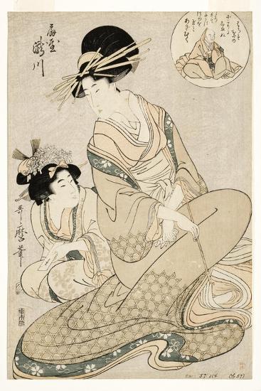 The Courtesan Takigawa and Her Attendant from the Ogiya in Allusion to the Poet, 1800-02-Kitagawa Utamaro-Giclee Print