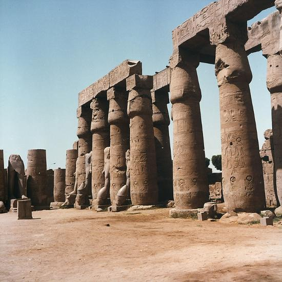 The Courtyard of Ramses Ii with Typical Papyrus Columns Inside the Temple of Luxor, in Upper Egypt-Pietro Ronchetti-Photographic Print