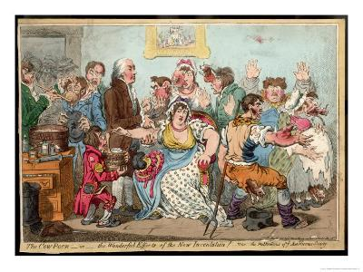 """The """"Cow Pock"""" or the Wonderful Effects of the New Inoculation, Satire on Jenner's Treatment-James Gillray-Giclee Print"""