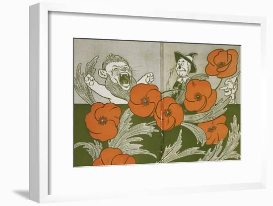 The Cowardly Lion, Scarecrow and Tin Woodman in the Deadly Field Of Poppies-William Denslow-Framed Giclee Print