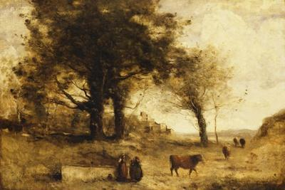 The Cows and the Well-Jean-Baptiste-Camille Corot-Giclee Print