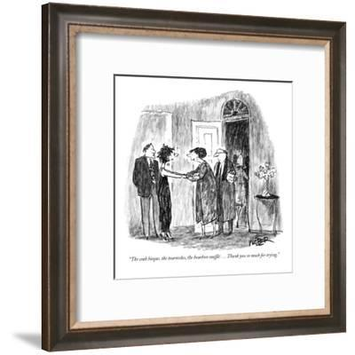 """The crab bisque, the tournedos, the bourbon  soufflé . . . Thank you so m…"" - New Yorker Cartoon-Robert Weber-Framed Premium Giclee Print"