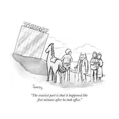 """""""The craziest part is that it happened like five minutes after he took off?"""" - Cartoon-Benjamin Schwartz-Premium Giclee Print"""