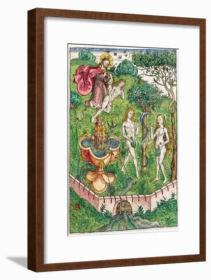 The Creation and the Temptation of Adam and Eve, c.1491-Michael Wolgemut Or Wolgemuth-Framed Premium Giclee Print