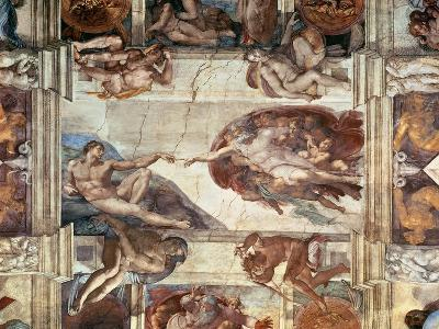 The Creation of Adam, Detail from the Sistine Ceiling, 1511-12 (Fresco)-Michelangelo Buonarroti-Giclee Print