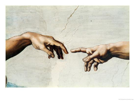 The Creation of Adam, Detail of God's and Adam's Hands, from the ...
