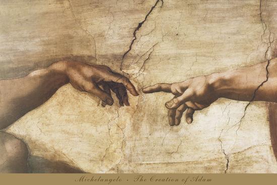 The Creation of Adam (detail)-Michelangelo-Art Print