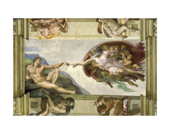 The Creation of Adam (Full)-Michelangelo-Art Print