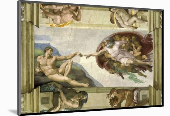 The Creation of Adam (Full)-Michelangelo-Mounted Art Print