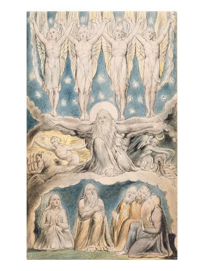 The Creation, Page 14 from 'Illustrations of the Book of Job' after William Blake (1757-1827)-John Linnell-Giclee Print