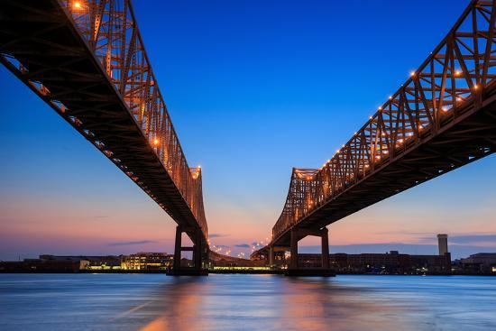 The Crescent City Connection Bridge on the Mississippi River in New Orleans Louisiana- f11photo-Photographic Print