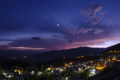 The Crescent Moon and Venus in Conjunction at Dusk, Above a Village in Iran's Alamut Valley-Babak Tafreshi-Photographic Print