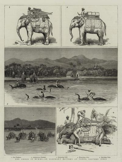 The Crisis in Burma, an Elephant Battery at Tongo, Eastern India--Giclee Print