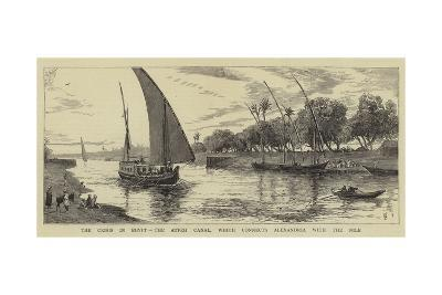 The Crisis in Egypt, the Atfeh Canal, Which Connects Alexandria with the Nile--Giclee Print