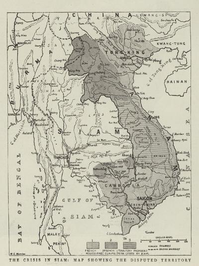 The Crisis in Siam, Map Showing the Disputed Territory--Giclee Print