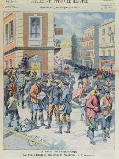 The Crowd Reading the Tsar's Manifesto, Front Cover of 'Le Petit Parisien', October 1905--Giclee Print