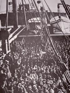 The Crowded Deck of an Immigrant Ship Entering New York Harbour, c.1905