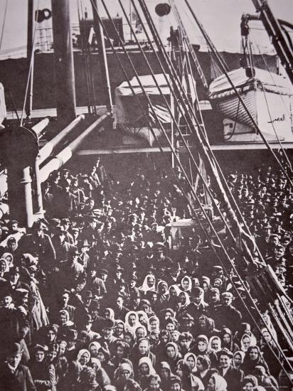 The Crowded Deck of an Immigrant Ship Entering New York Harbour, c.1905--Photographic Print