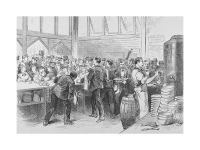 The Crowded Lunch Counter of an American Railroad Station, 1870S--Giclee Print