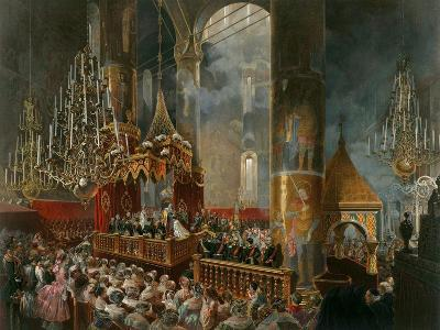 The Crowning of Tsarina Maria Alexandrovna of Russia, Moscow, 1856-Mihály Zichy-Giclee Print