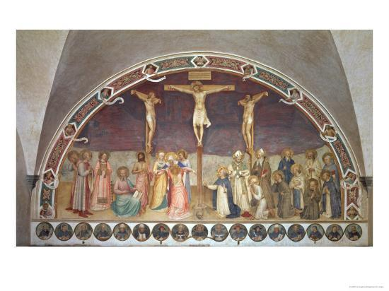 The Crucifixion, with SS. Cosmas, Damian, Francis and Bernard, 1442-Fra Angelico-Giclee Print