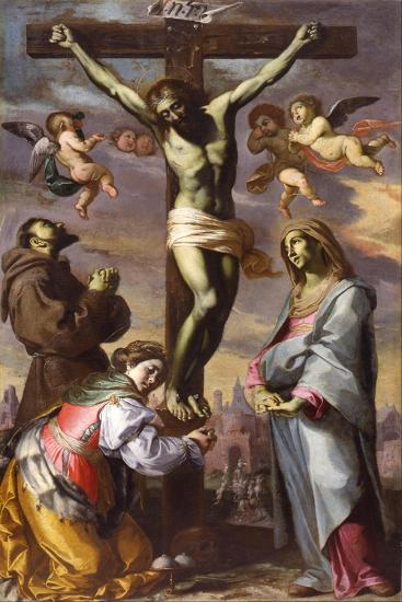 The Crucifixion with the Virgin and Saints Francis and Agatha, Mid of 17th C-Bernardino Mei-Giclee Print
