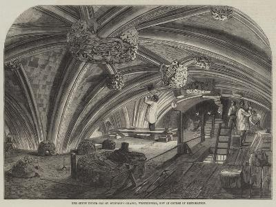The Crypt under Old St Stephen's Chapel, Westminster, Now in Course of Restoration--Giclee Print