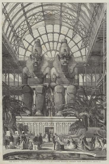 The Crystal Palace at Sydenham, the Egyptian Avenue, Colossal Figures from Aboo Simbel--Giclee Print