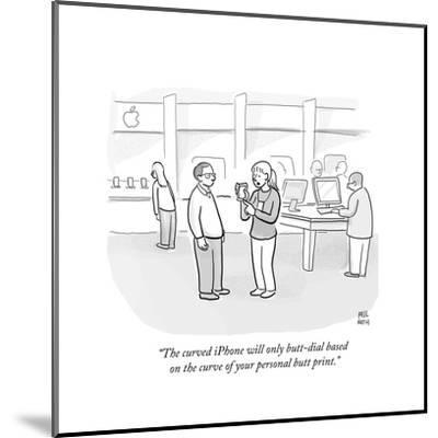 """""""The curved iPhone will only butt-dial based on the curve of your personal?"""" - Cartoon-Paul Noth-Mounted Premium Giclee Print"""