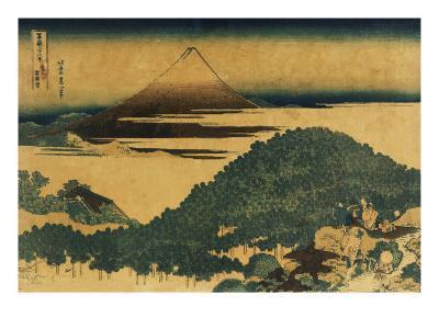 The Cushion Pine at Aoyama with Mount Fuji in the Distance, Japanese Wood-Cut Print-Lantern Press-Art Print