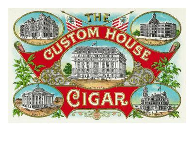 The Custom House Cigar Brand Cigar Box Label-Lantern Press-Art Print