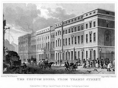 The Custom House from Thames Street, City of London, 1828-J Henshall-Giclee Print