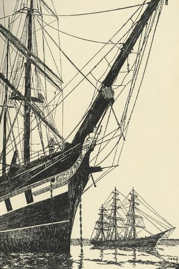 'The Cutty Sark (1869), in Falmouth Harbour', (1938)-Unknown-Giclee Print