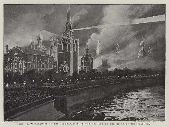 The Czar's Coronation, the Illumination of the Kremlin on the Night of Ceremony-Joseph Nash-Giclee Print