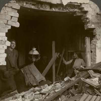 The Damage Done by a German Zeppelin Bomb, World War I, 1914-1918--Photographic Print