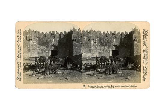 The Damascus Gate, the Nothern Entrance to Jerusalem, Palestine, 1899-Underwood & Underwood-Giclee Print