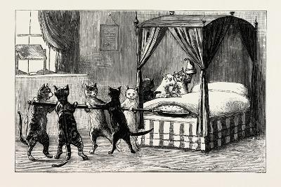 The Dame Was Unabe Her Pleasure to Smother. Cats Heating the Bed, 1890--Giclee Print