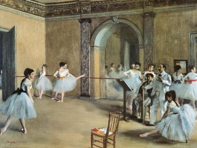 The Dance Foyer at the Opera on the Rue Le Peletier-Edgar Degas-Art Print