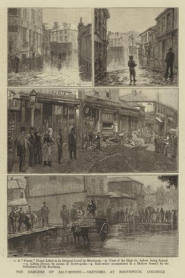 The Dangers of Salt-Mining, Sketches at Northwich, Cheshire--Giclee Print